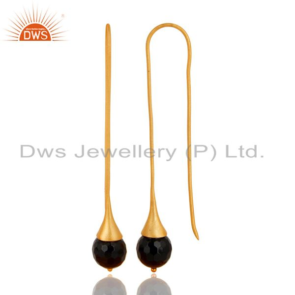 Exporter 18K Yellow Gold Plated 925 Sterling Silver Black Onyx Gemstone Dangle Earrings