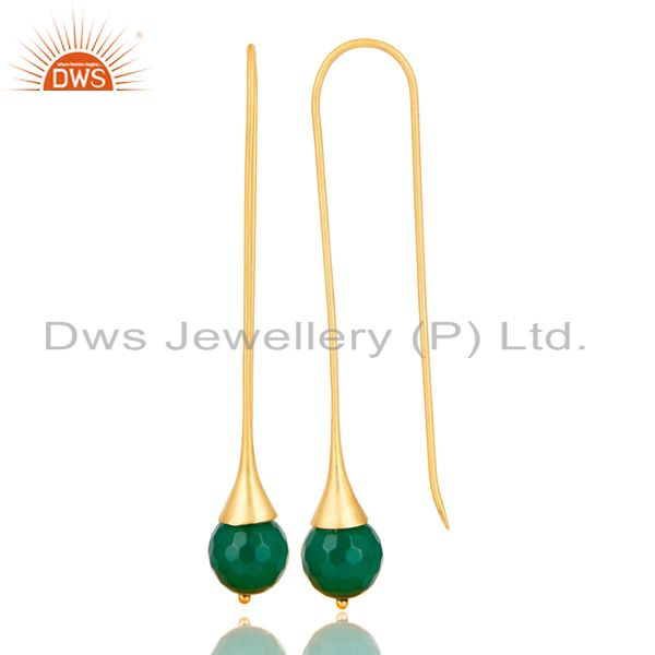 Exporter 18K Yellow Gold Plated 925 Sterling Silver Faceted Green Onyx Dangle Earrings