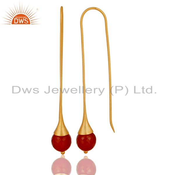 Exporter 22K Gold Plated 925 Sterling Silver Red Onyx Faceted Dangle Earrings