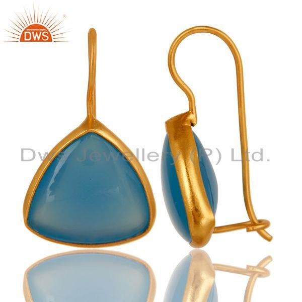 Exporter Dyed Blue Chalcedony Sterling Silver Dangle Earrings - Yellow Gold Plated