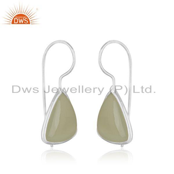Exporter Prehnite Chalcedony Gemstone Fine Sterling Silver Drop Women Earrings