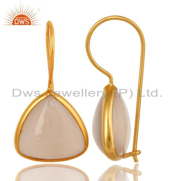 Exporter 14K Yellow Gold Over Sterling Silver Rose Chalcedony Earrings