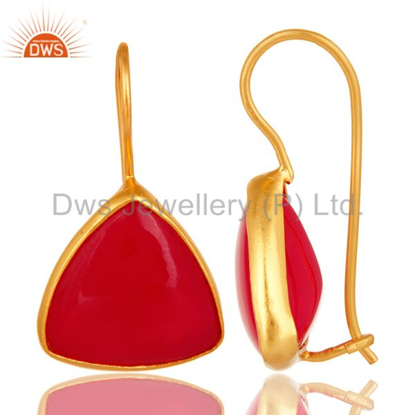 Exporter Handmade Dyed Pink Chalcedony Earrings In 18K Gold Over Sterling SIlver