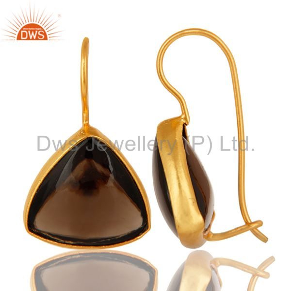Exporter 925 Sterling Silver Smoky Quartz Earrings With Gold Plated
