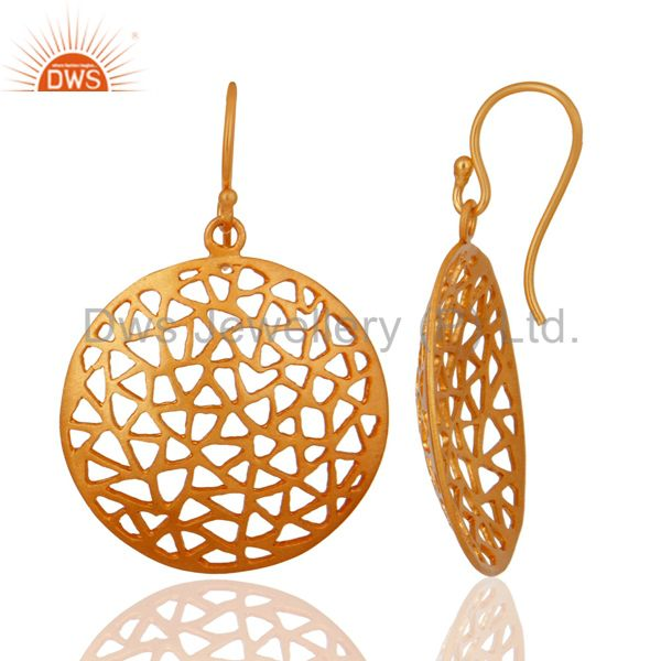 Exporter 22K Yellow Gold Plated Sterling Silver Filigree Disc Design Dangle Earrings