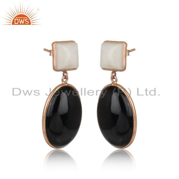 Bold dangle in rose gold on silver 925 with white agate black onyx