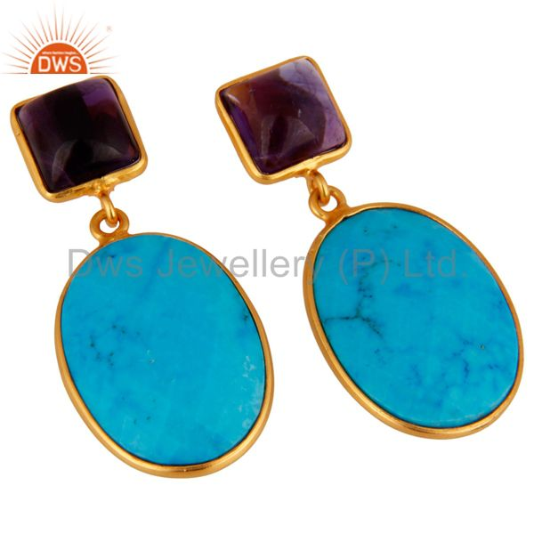 Exporter 18K Gold Plated 925 Sterling Silver Turquoise & Amethyst Gemstone Drop Earrings