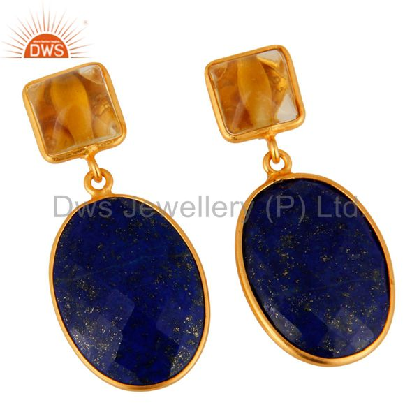 Exporter 925 Sterling Silver Lapis Lazuli & Citrine Gemstone Drop Earring With Gold Plate