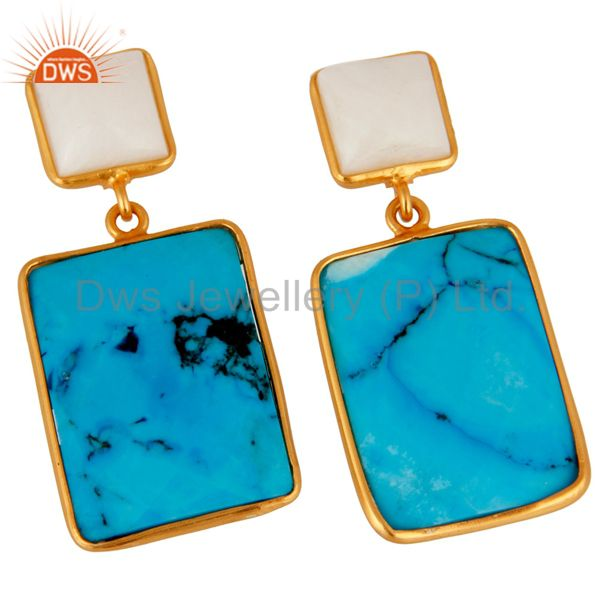 Exporter Natural Agate & Turquoise Slice 925 Sterling Silver 24k Gold Verneil Earrings