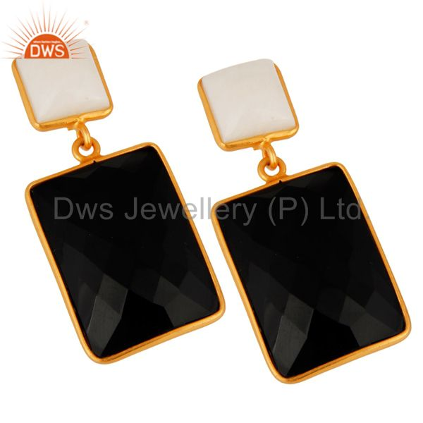 Exporter 18K Yellow Gold Plated Sterling Silver Black Onyx And White Agate Dangle Earring