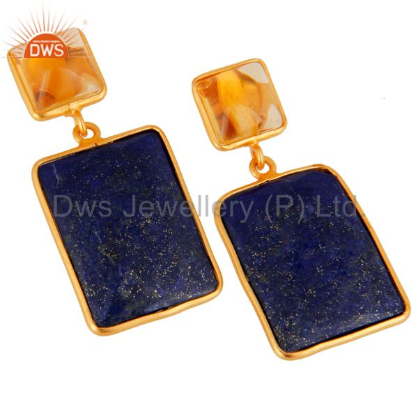 Exporter Citrine & Lapis Lazuli Gemstone 925 Sterling Silver 18K Gold Plated Earrings