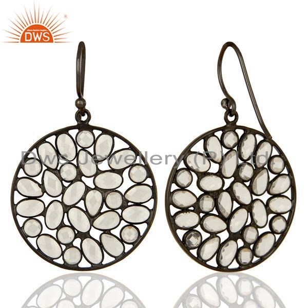 Exporter Black Rhodium Plated Silver CZ Earrings Jewelry Manufacturer Supplier