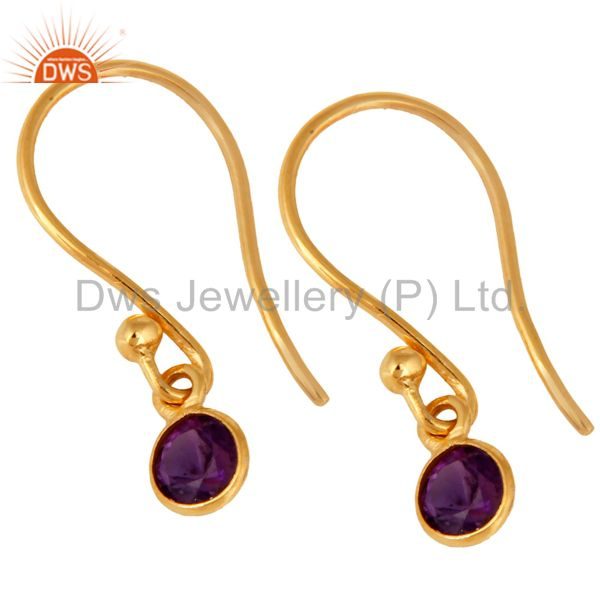Exporter Natural Purple Amethyst Round Cut 18K Solid Yellow Gold Dangle Earrings