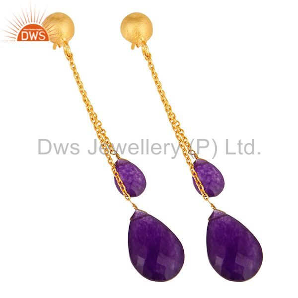 Exporter 18K Yellow Gold Plated Silver Purple Chalcedony Chain Drop Dangle Earrings