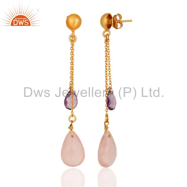 Exporter 18K Gold Plated Sterling Silver Amethyst & Rose Chalcedony Chain Dangle Earrings