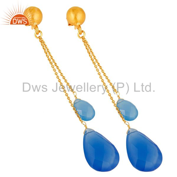 Exporter 18K Yellow Gold Plated Sterling Silver Aqua Blue Chalcedony Briolette Earrings