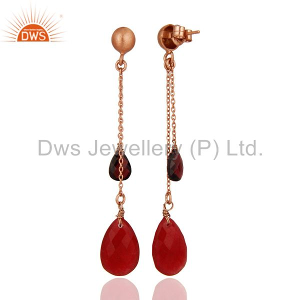 Exporter 18K Rose Gold Plated Silver Garnet And Red Aventurine Chain Dangle Earrings