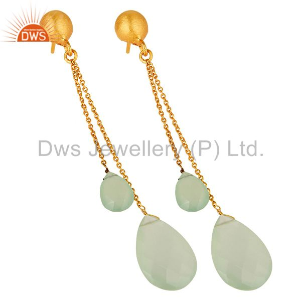 Exporter 18K Yellow Gold Plated Sterling Silver Green Chalcedony Briolette Chain Earrings