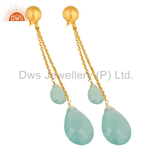 Exporter Aqua Blue Chalcedony Teardrop Chain Earrings Made In 18K Gold On Sterling Silver
