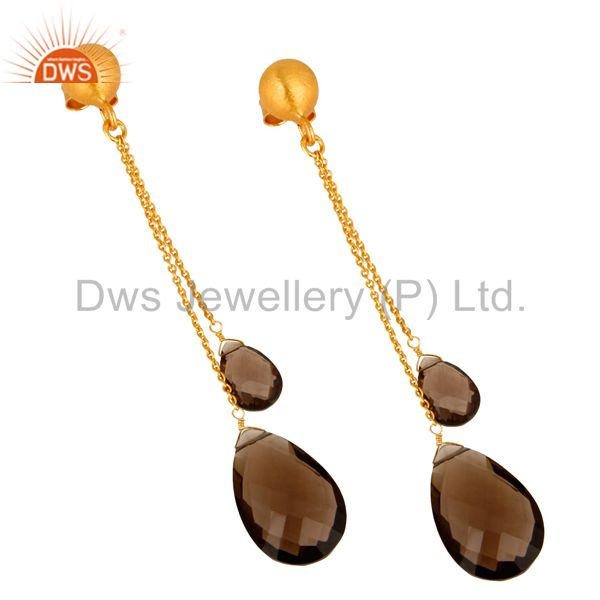 Exporter 14K Yellow Gold Plated Sterling Silver Smoky Quartz Teardrop Chain Earrings