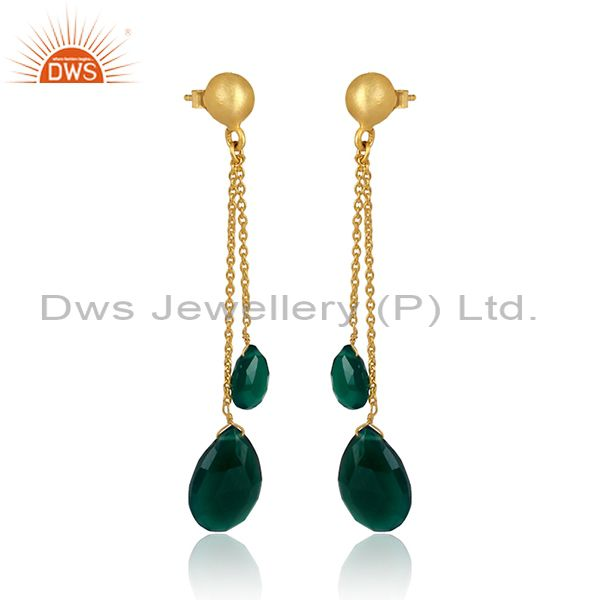 Exporter 18K Yellow Gold Plated Sterling Silver Green Onyx Teardrop Chain Dangle Earrings