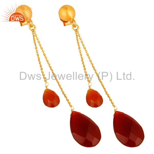 Exporter 18K Yellow Gold Plated Sterling Silver Red Onyx Briolette Chain Dangle Earrings