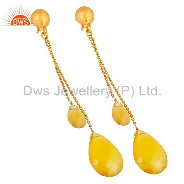 Exporter Faceted Yellow Chalcedony Drop Chain Earrings In 18K Gold Over Sterling Silver