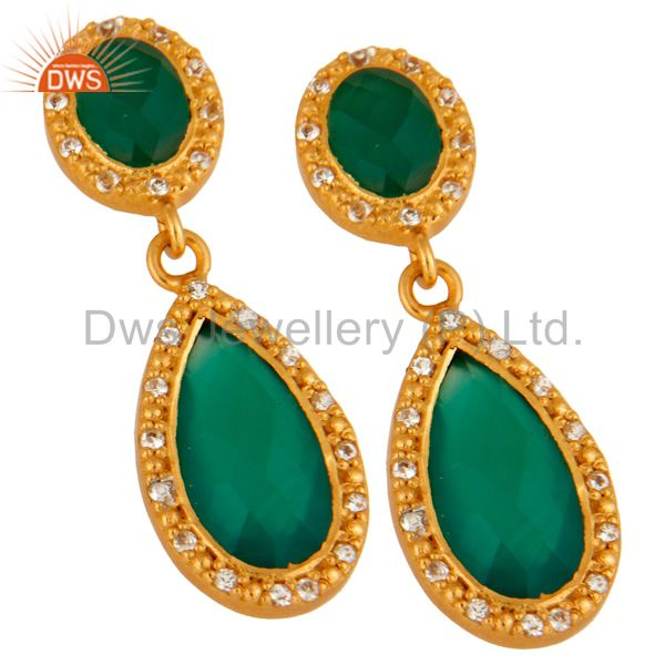 Exporter 24K Gold Plated Sterling Silver Green Onyx & White Topaz Drop Dangle Earring