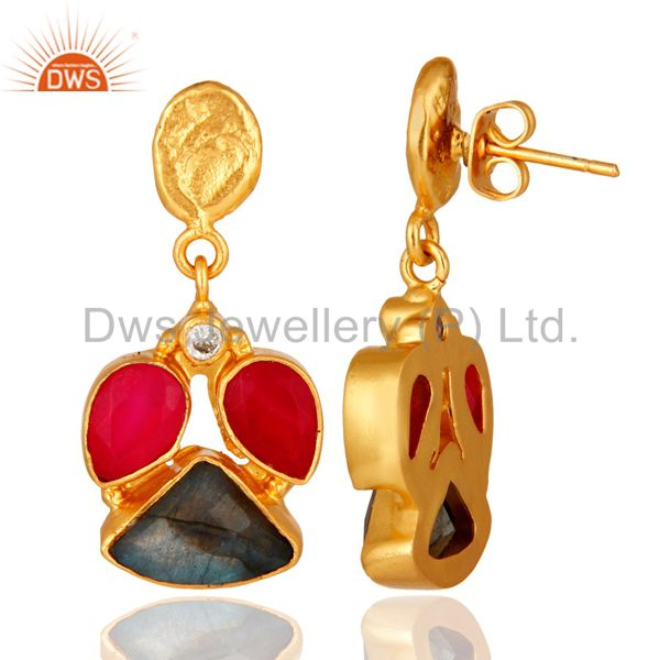Exporter Handmade Labradorite And Chalcedony Gemstone Earrings - Yellow Gold Plated