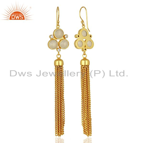 Exporter CZ White Chalcedony Gemstone Brass Fashion Earrings Jewelry Supplier