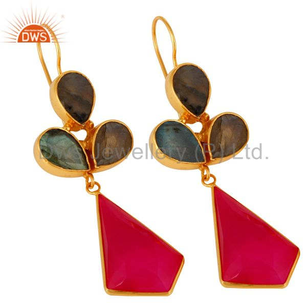 Exporter 24K Gold Plated Labradorite And Dyed Chalcedony Handmade Earrings