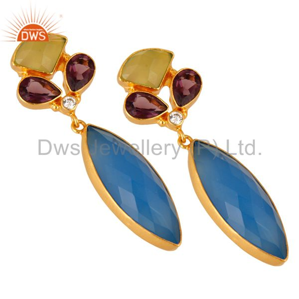 Exporter 18K Yellow Gold Plated Brass Chalcedony And Hydro Amethyst Earrings