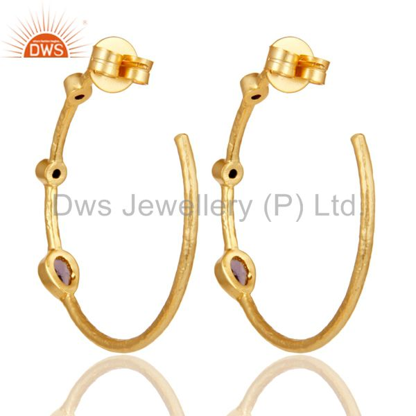 Exporter Hydro Amethys & Zirconia Studs Brass Earrings With 18K Yellow Gold Plated