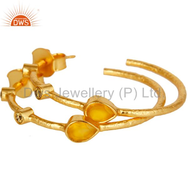 Exporter Chalcedony & White Zirconia Dangle Brass Earrings With 18K Yellow Gold Plated
