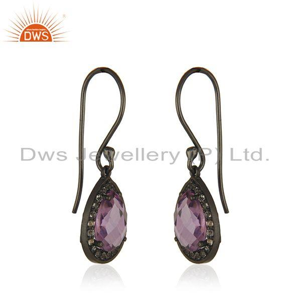 Exporter White Topaz and Amethyst Gemstone Black Rhodium Plated 925 Silver Drop Earring