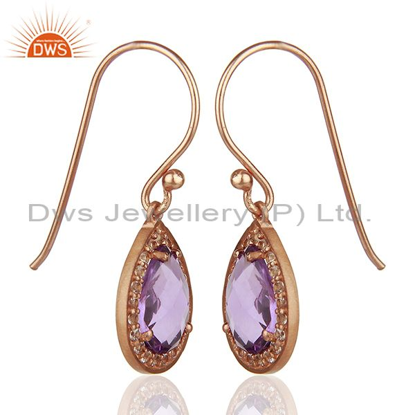 Exporter White Topaz and Amethyst Gemstone 925 Silver Drop Earrings Suppliers