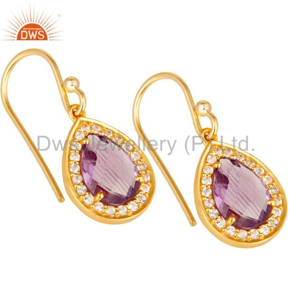 Exporter 18k Yellow Gold Plated Sterling Silver Amethyst & White Topaz Drop Earrings