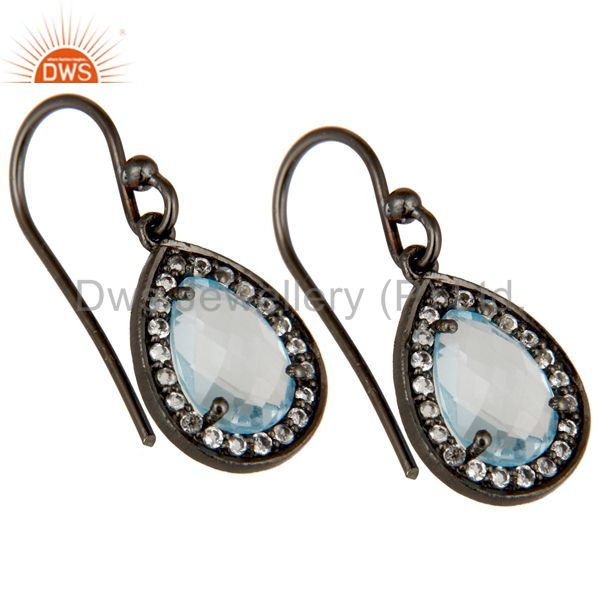 Exporter Oxidized Sterling Silver Blue Topaz And White Topaz Drop Earrings