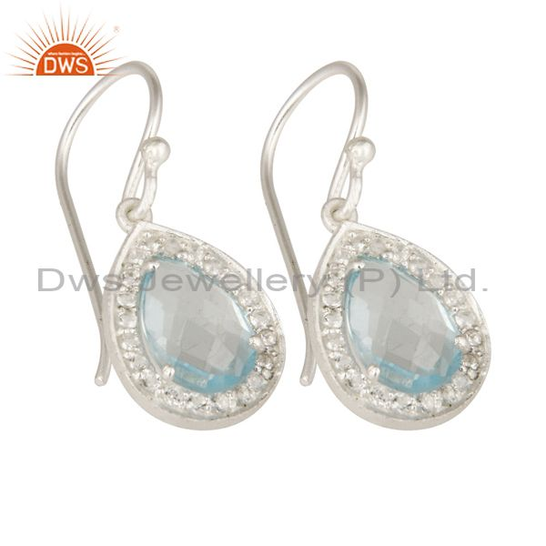 Exporter 925 Sterling Silver Blue Topaz And White Topaz Gemstone Drop Earrings