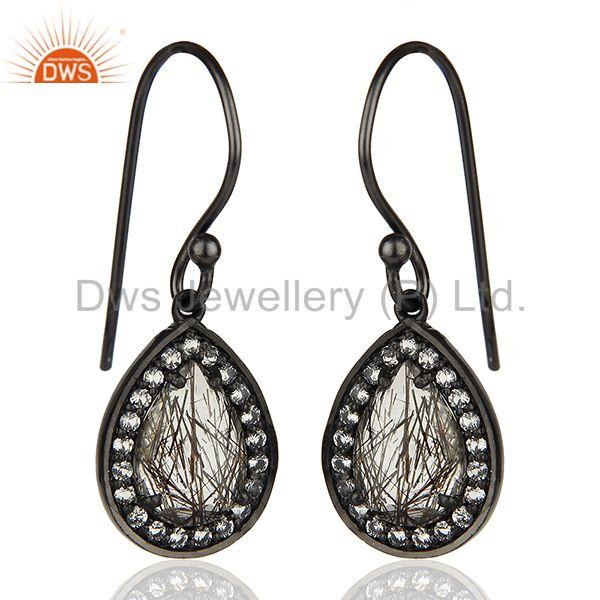Exporter Black Rutile and White Topaz Gemstone Black 925 Silver Earrings