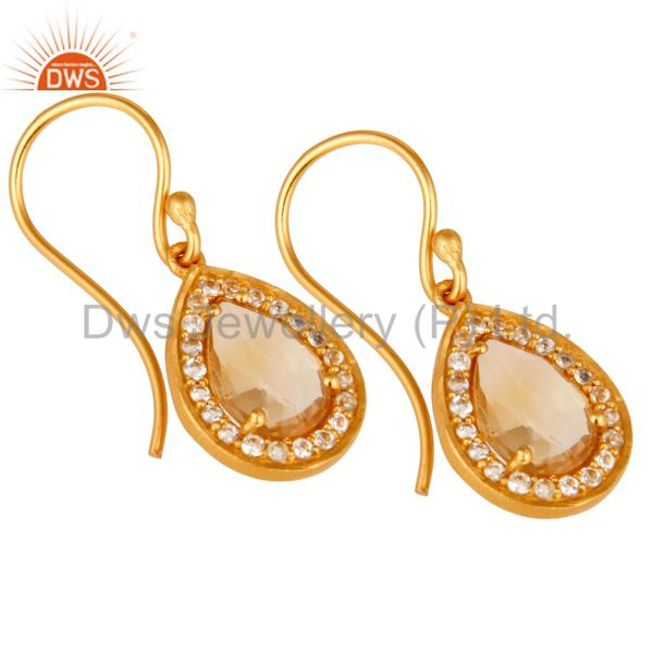 Exporter Citrine And White Topaz Teardrop Earrings Made In 18K Gold Over 925 Silver