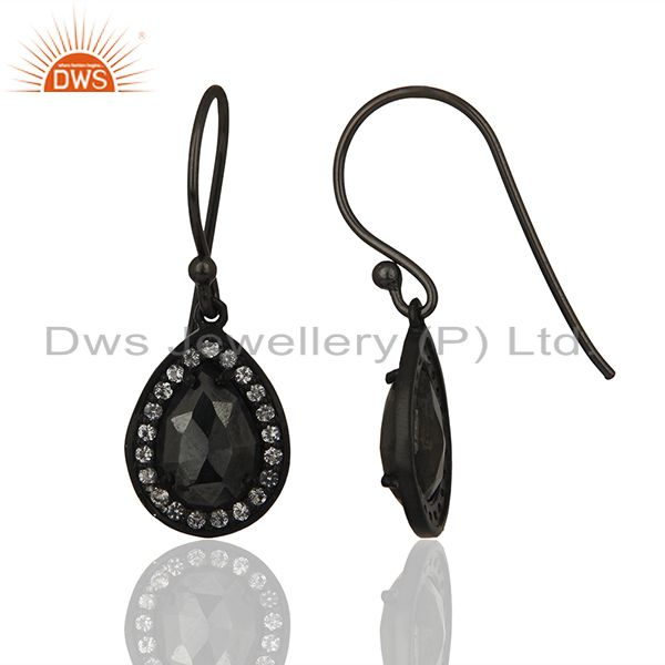 Exporter Black Rhodium Plated 925 Silver Gemstone Drop Earrings Wholesale