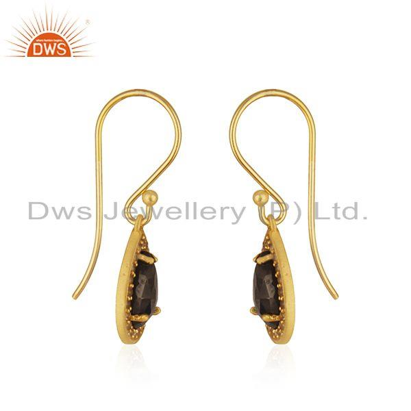 Exporter White Topaz and Hematite Gemstone Gold Plated 925 Silver Drop Earring