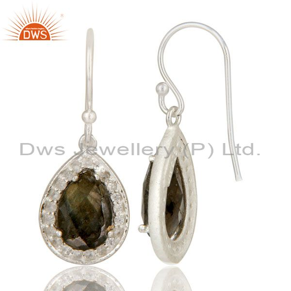 Exporter 925 Sterling Silver Labradorite And White Topaz Halo Style Teardrop Earrings