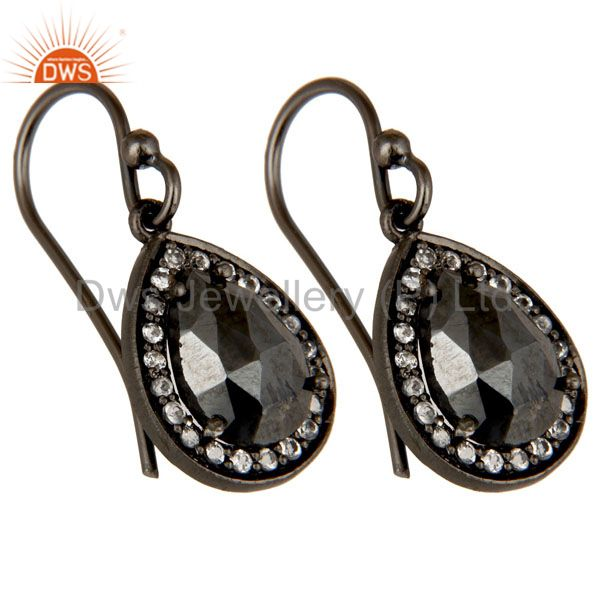 Wholesalers Oxidized Sterling Silver Hematite And White Topaz Dangle Earrings