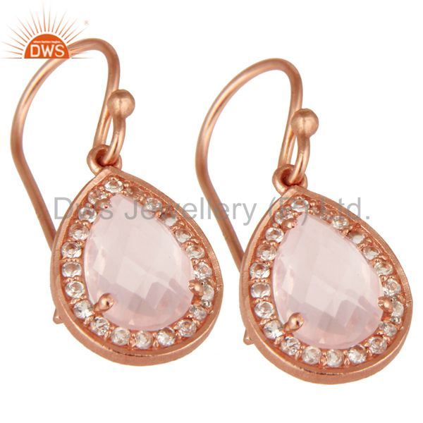 Exporter 18K Gold Plated Sterling Silver Rose Quartz And White Topaz Drop Earrings