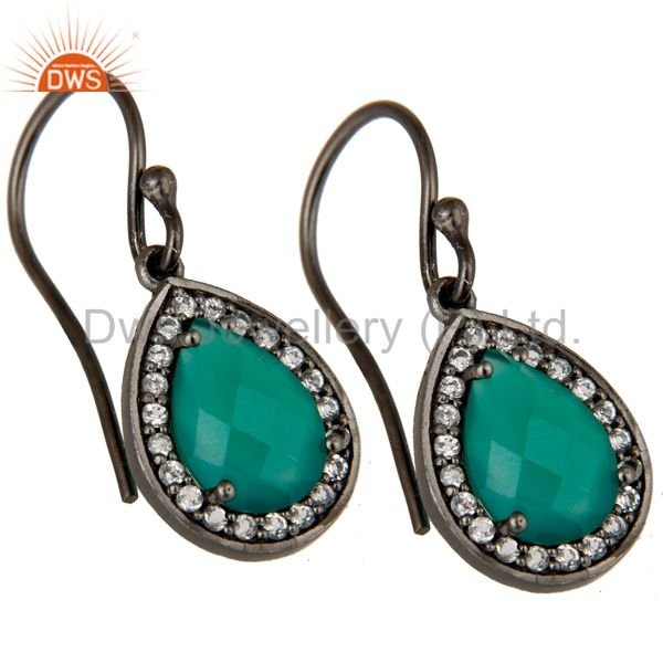 Exporter Oxidized Sterling Silver Green Onyx And White Topaz Halo Dangle Earrings