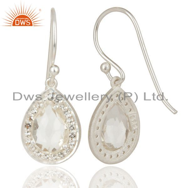 Exporter Solid 925 Silver Crystal and Cz Gemstone Drop Earrings Manufacturer