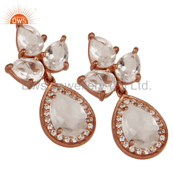 Exporter Rose Gold Plated Sterling Silver Crystal and Zircon Designer Dangle Earrings
