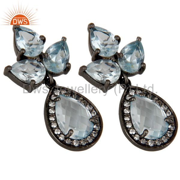 Exporter Oxidized Sterling Silver Blue Topaz And White Topaz Designer Dangle Earrings